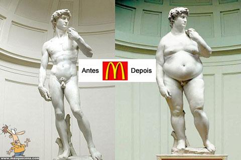 O antes e depois do David do Michelangelo se o mcdonalds existisse há séculos atrás