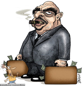 Homem com malas cheias de dinheiro e a fumar um charuto