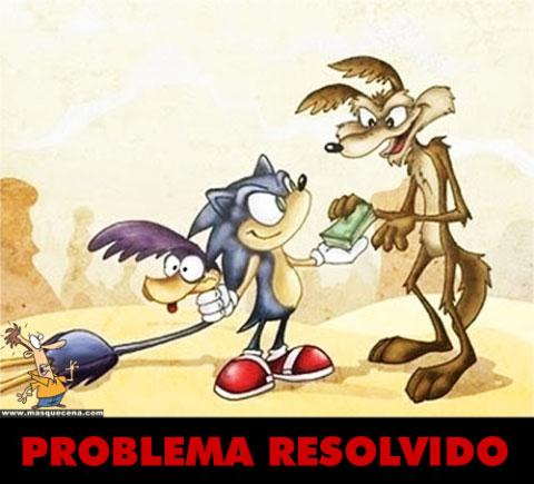 Coiote apanha o Bip Bip utilizando a ajuda do Sonic