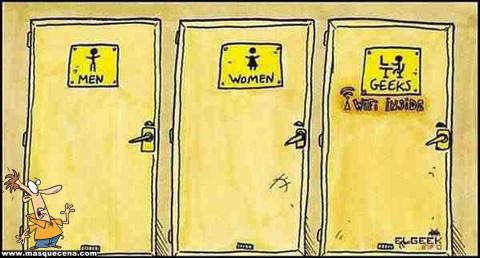 Casa de banho para homens, mulheres e... geeks