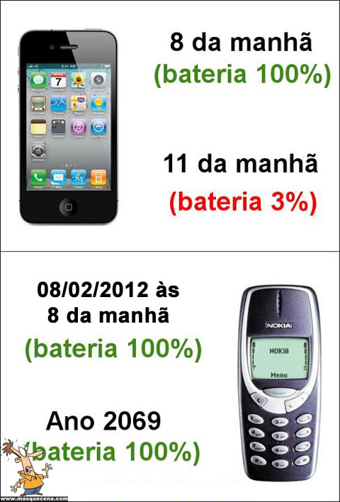 Bateria do iPhone vs Bateria do Nokia 3310