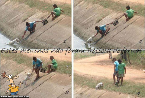 Dois meninos a resgatar um cãozinho