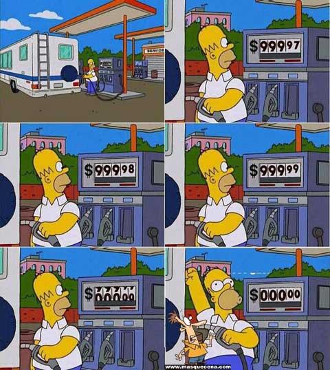 Homer Simpson enchendo o depósito