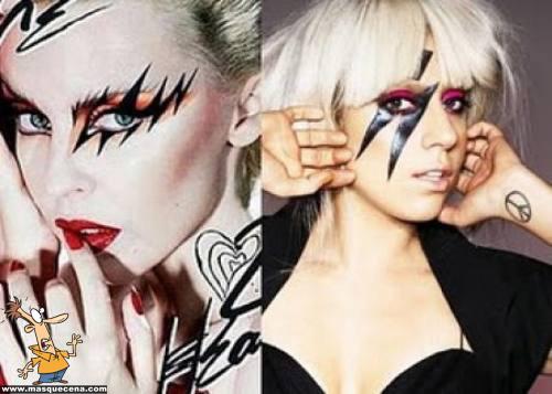 Lady Gaga maquilhada de forma muito parecida a Kylie Minogue
