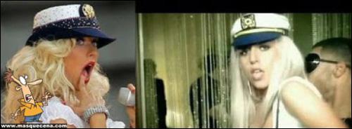 Lady Gaga vestida de marinheiro, copiando a Christina Aguilera