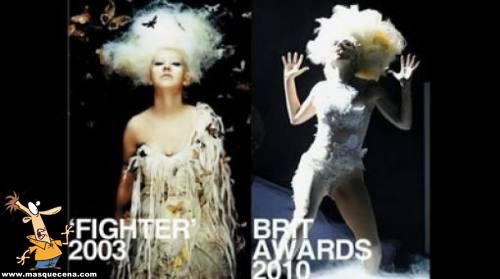 Lady Gaga com exactamente o mesmo estilo da Christina Aguilera
