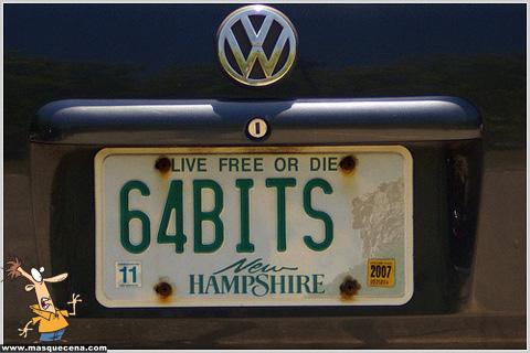 Matrícula de carro que diz 64Bits