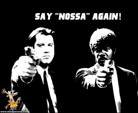 """ules Winnfield (Samuel L. Jackson) e Vincent Vega (John Travolta) a apontar uma arma e a pedir para dizer """"nossa"""" novamente"""