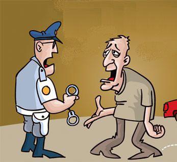 Bêbado falando com um polícia que está a segurar umas algemas