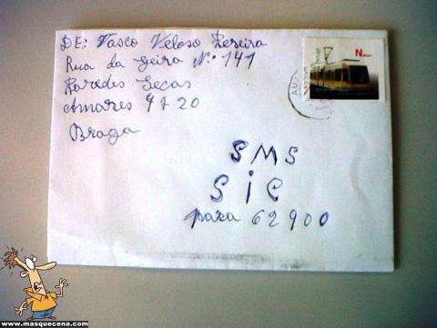 Envelope que tem como destinatário SMS Sic para 62900