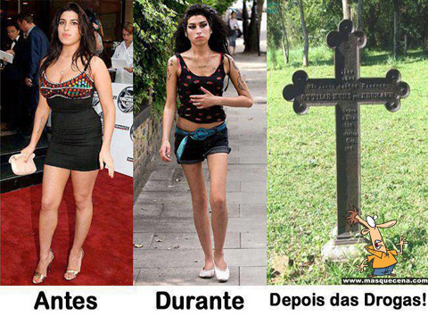 Imagem que mostra os efeitos das drogas aplicados a Amy Winehouse