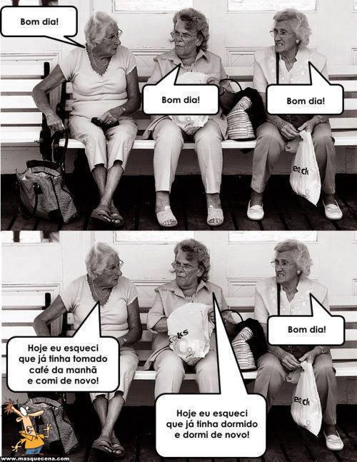 3 velhinhas a conversar sobre o que se esqueceram de fazer hoje