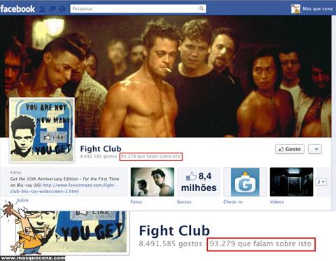 Página do Facebook do Fight Club onde diz que mais de 93000 pessoas falam dele