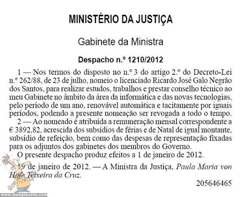 Despacho da ministra de justiça onde contratam Ricardo José Galo Negrão