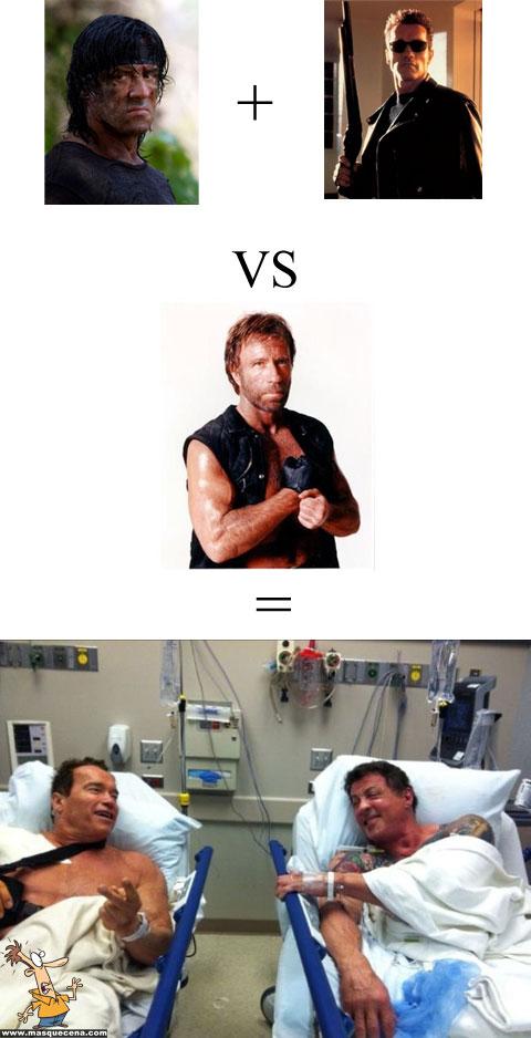 Se o Rambo e o exterminador implacável lutassem contra o Chuck Norris, eles acabariam no hospital