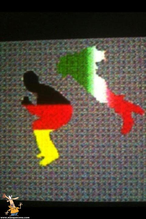 Itália a dar um pontapé na Alemanha
