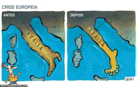 Imagem da Itália antes e depois da crise europeia. Antes tinha forma de bota. Depois terá a forma de um pé descalço.