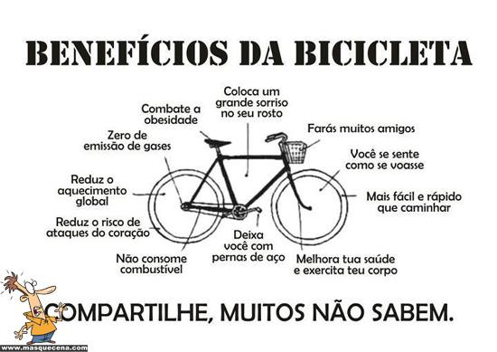 Imagem que mostra os benefícios da utilizar uma bicicleta: desde melhorar a saúde, até ajudar ao ambiente
