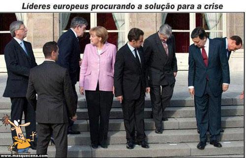 Líderes europeus procurando a solução para a crise