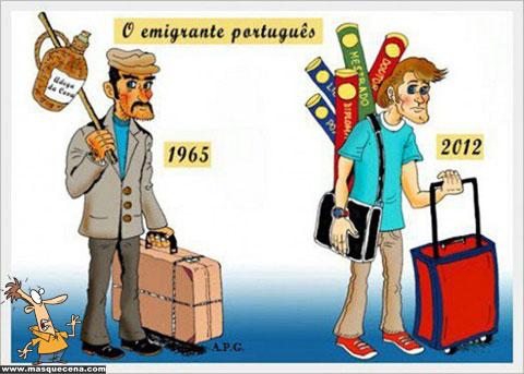 Imagem que compara o emigrante português de há 50 anos atrás, com o de hoje em dia