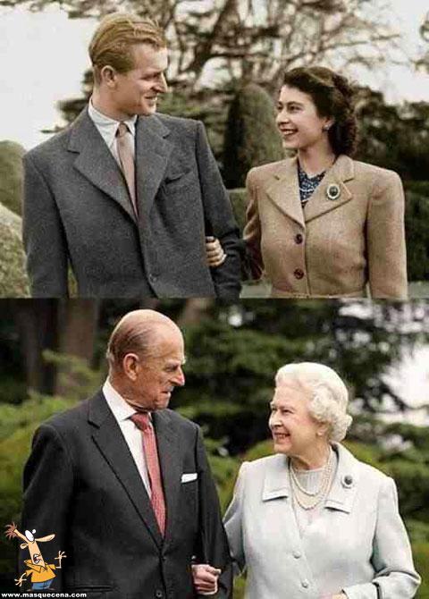 O duque de Edimburgo e a rainha Isabel II em duas fotos com 60 anos de diferença.