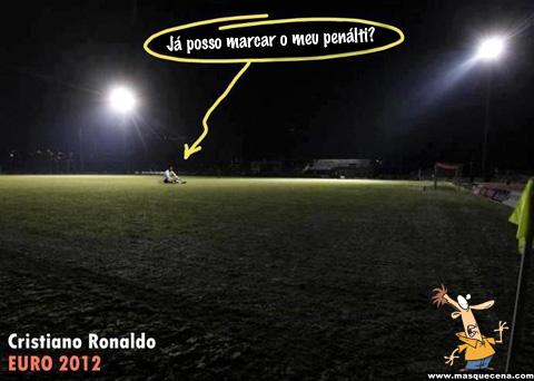 Cristiano Ronaldo ronado a perguntar se já pode marcar o seu penálti