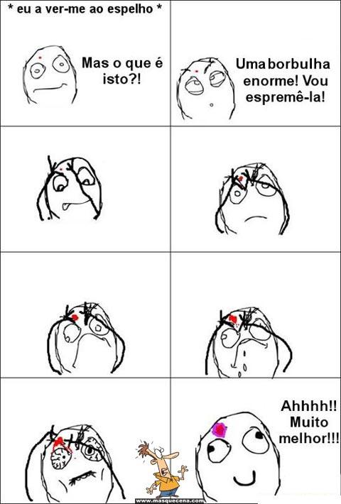 Reacção de uma pessoa quando se olha ao espelho e encontra uma borbulha na cara