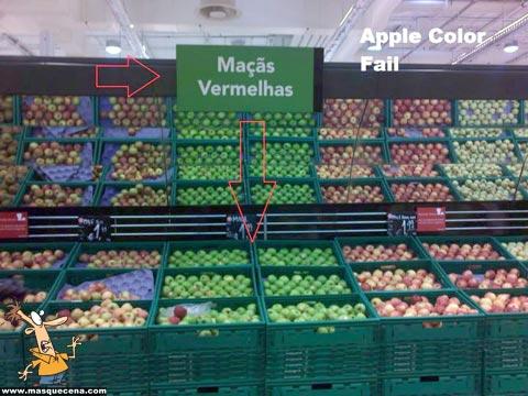 Maçãs vermelhas na zona das maçãs verdes