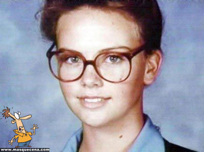 Young Charlize Theron before she was famous yearbook picture