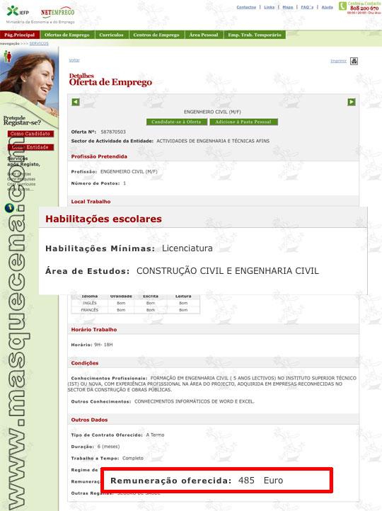 Captura de ecrã do site da net emprego que mostra uma proposta de emprego para um Engenheiro Civil com remuneração de 485 euros