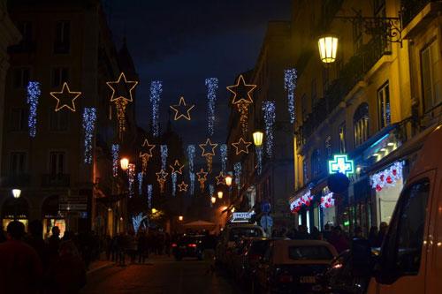 Iluminação de Natal no Chiado